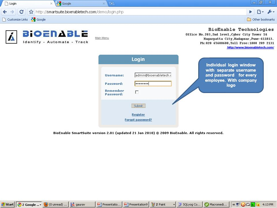 Individual login window with separate username and password for every employee. With company logo