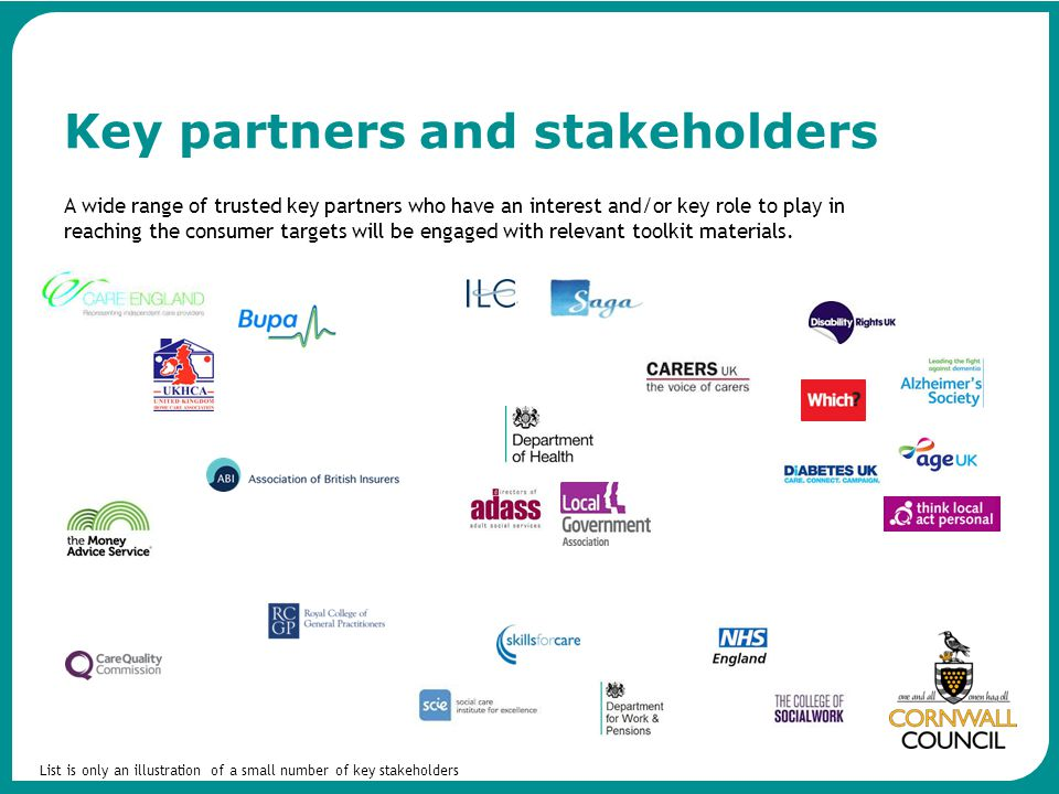 A wide range of trusted key partners who have an interest and/or key role to play in reaching the consumer targets will be engaged with relevant toolk