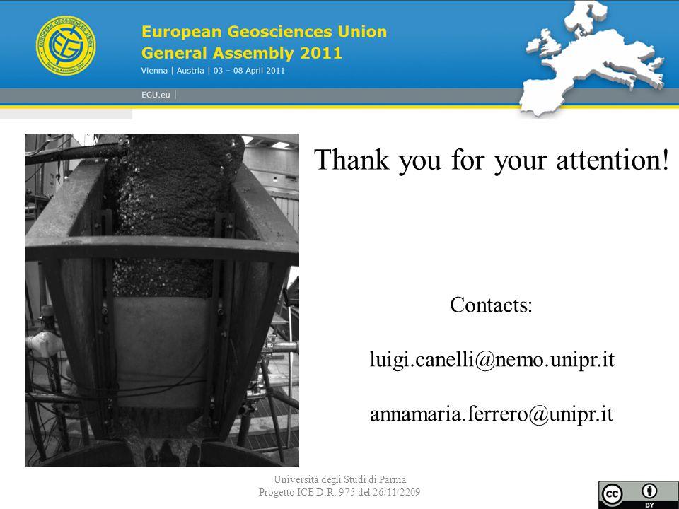 Università degli Studi di Parma Progetto ICE D.R. 975 del 26/11/2209 Thank you for your attention.