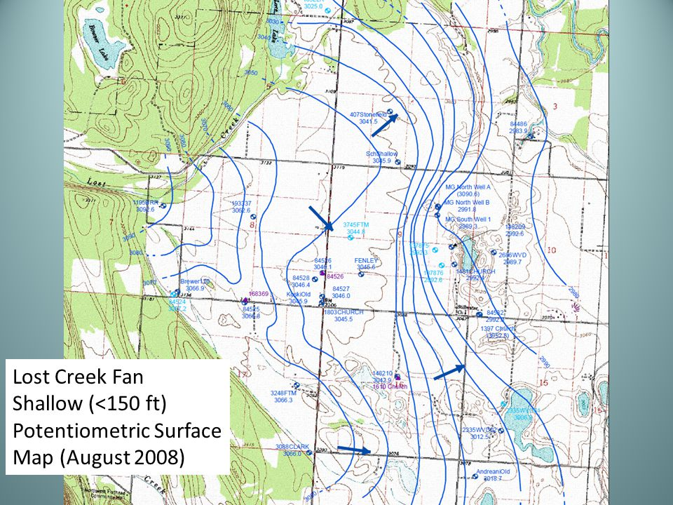 Lost Creek Fan Shallow (<150 ft) Potentiometric Surface Map (August 2008)