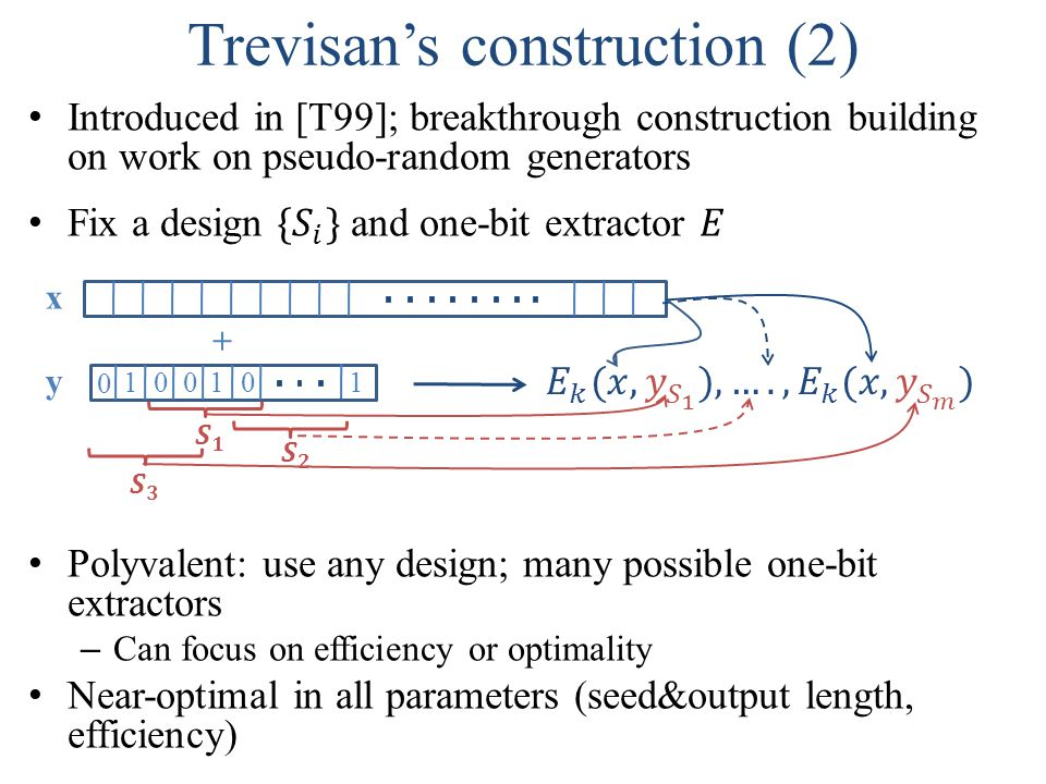 0 000111 y x + Trevisan's construction (2)