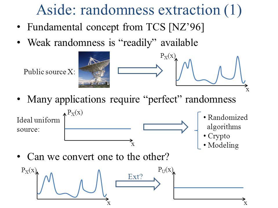 Aside: randomness extraction (2) x P U (x) x P X (x) Ext? + x P Y (x)