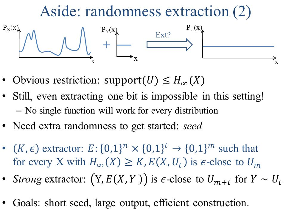 Aside: randomness extraction (2) x P U (x) x P X (x) Ext + x P Y (x)