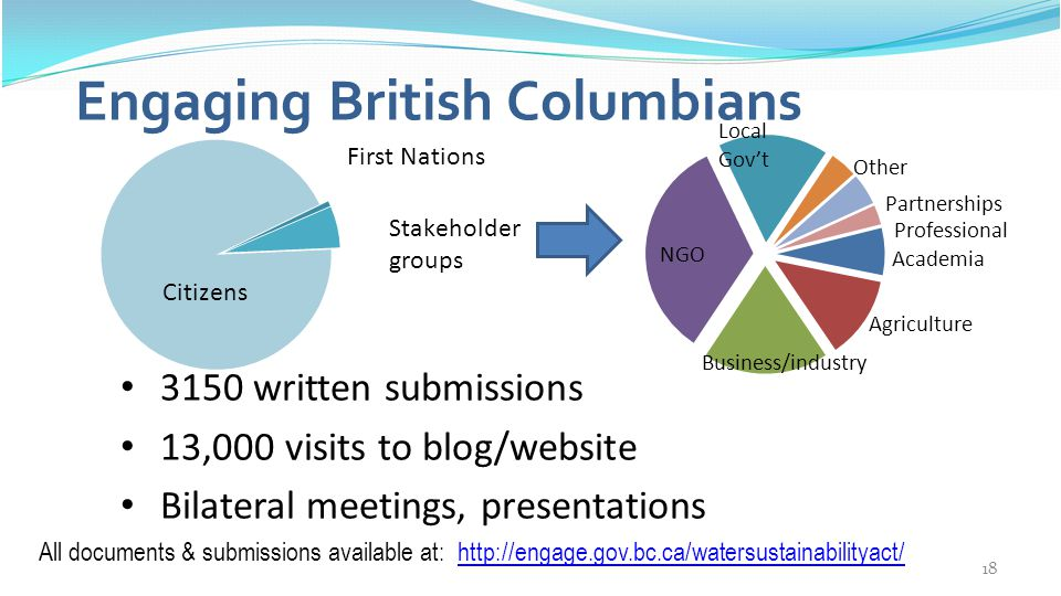 18 3150 written submissions 13,000 visits to blog/website Bilateral meetings, presentations Engaging British Columbians All documents & submissions av