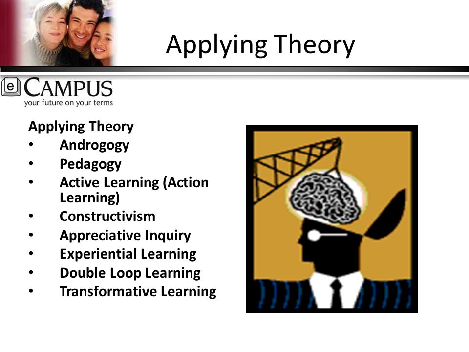 Applying Theory Androgogy Pedagogy Active Learning (Action Learning) Constructivism Appreciative Inquiry Experiential Learning Double Loop Learning Transformative Learning