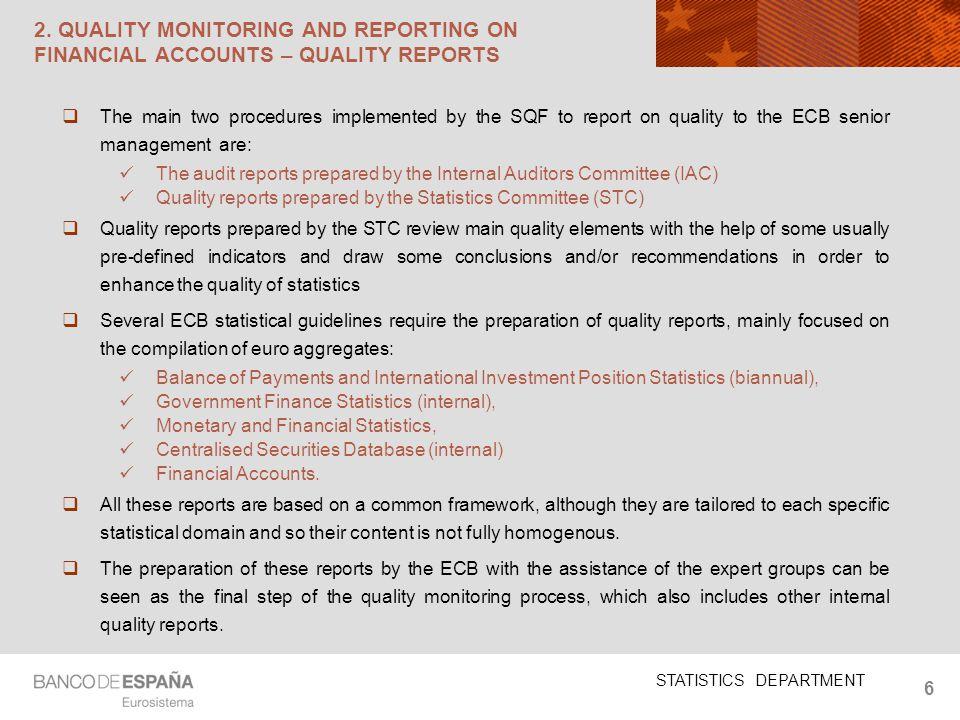 STATISTICS DEPARTMENT 6 2.