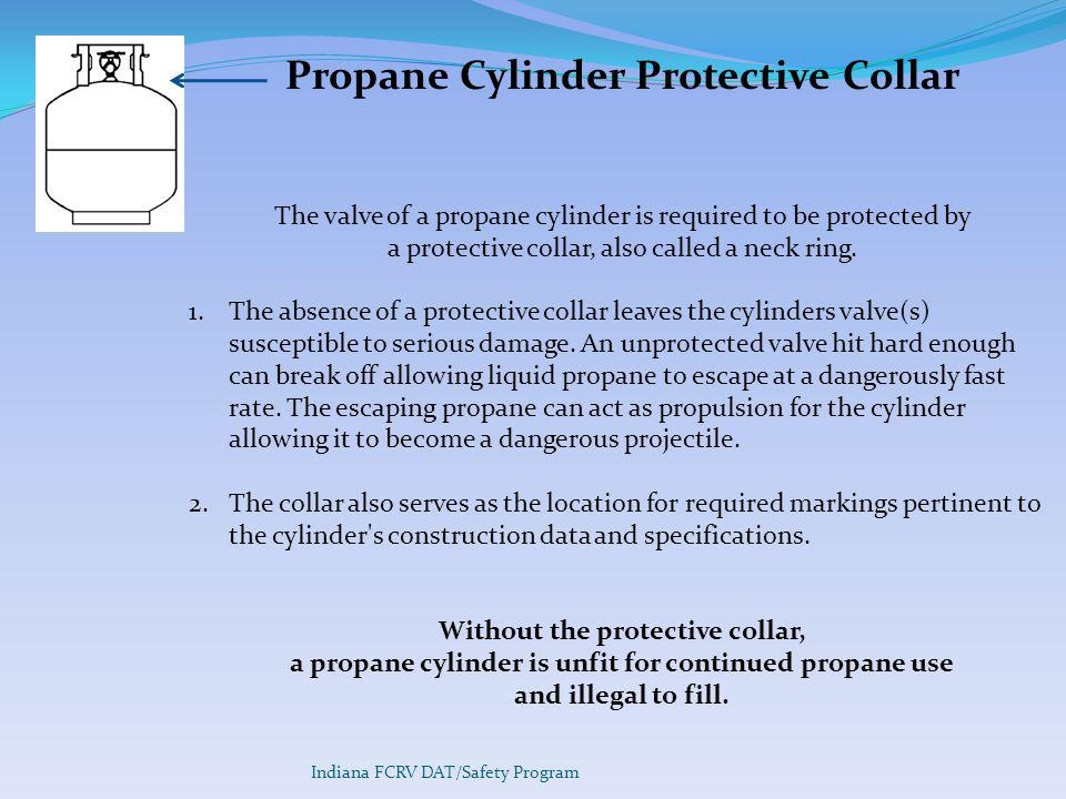 Propane Cylinder Protective Collar The valve of a propane cylinder is required to be protected by a protective collar, also called a neck ring.