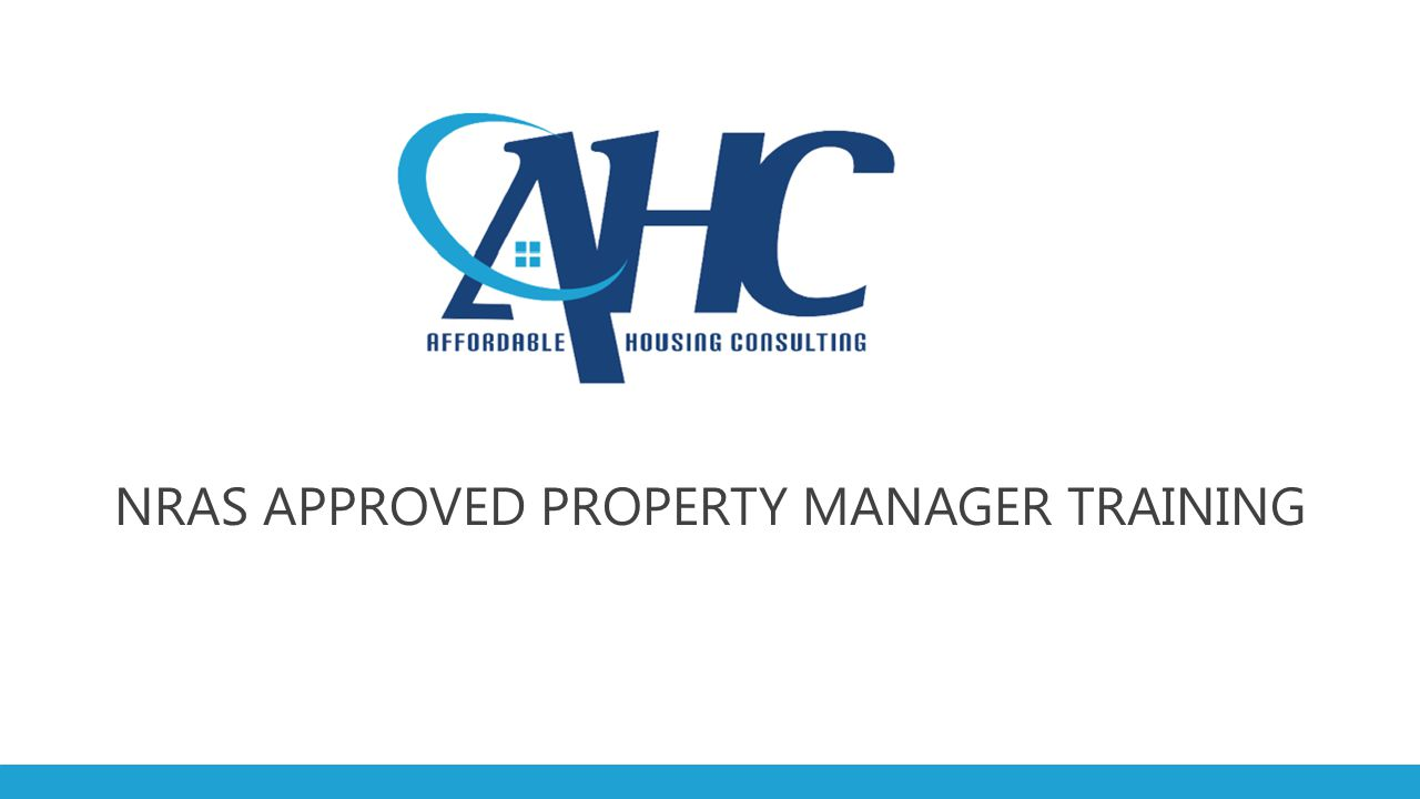 NRAS APPROVED PROPERTY MANAGER TRAINING