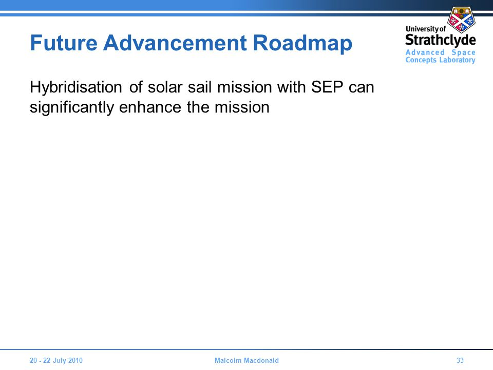 Future Advancement Roadmap Hybridisation of solar sail mission with SEP can significantly enhance the mission 20 - 22 July 201033Malcolm Macdonald