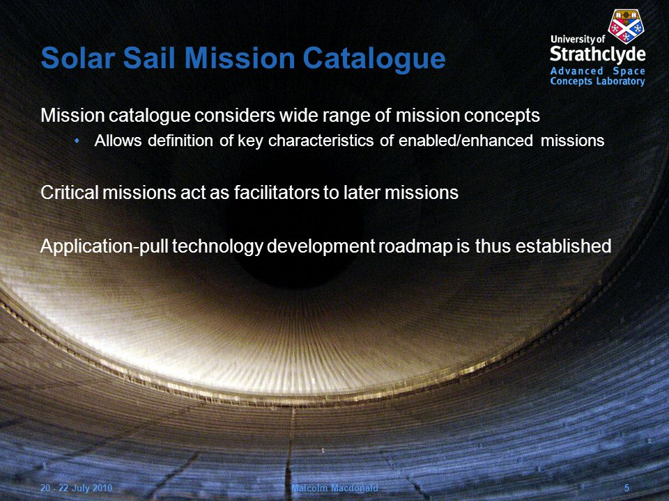 Solar Sail Mission Catalogue Mission catalogue considers wide range of mission concepts Allows definition of key characteristics of enabled/enhanced missions Critical missions act as facilitators to later missions Application-pull technology development roadmap is thus established 20 - 22 July 20105Malcolm Macdonald