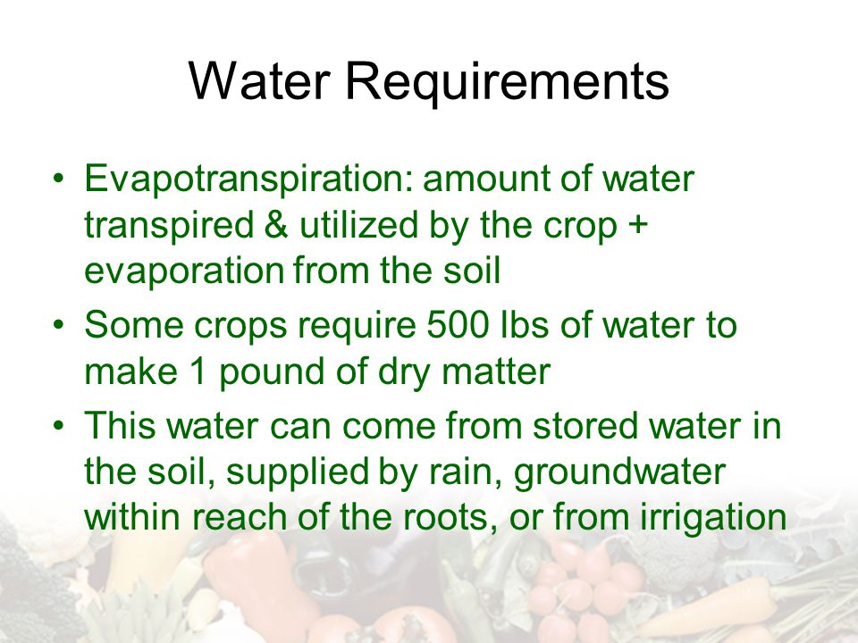 Water Requirements Evapotranspiration: amount of water transpired & utilized by the crop + evaporation from the soil Some crops require 500 lbs of wat