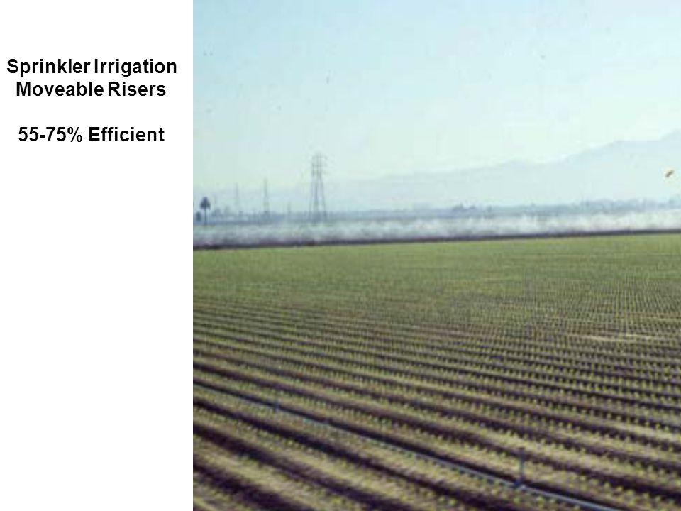 Sprinkler Irrigation Moveable Risers 55-75% Efficient