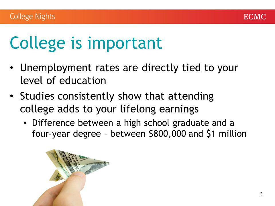 Your college applications Application fees Most colleges have an application fee Many colleges will waive the fee You may have to submit SAT or ACT scores Transcripts References/recommendations Essays Other evidence of talent 14