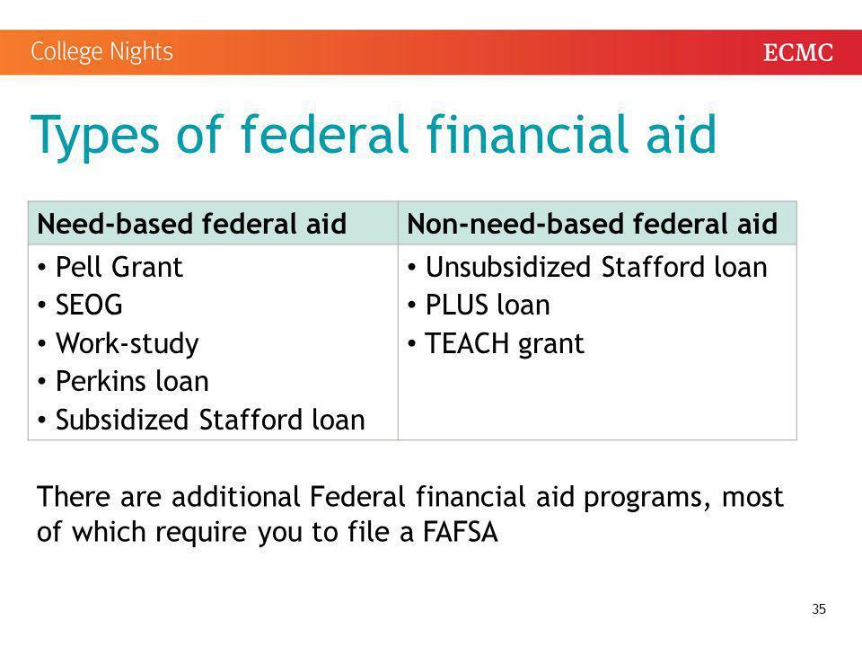 Types of federal financial aid 35 Need-based federal aidNon-need-based federal aid Pell Grant SEOG Work-study Perkins loan Subsidized Stafford loan Un