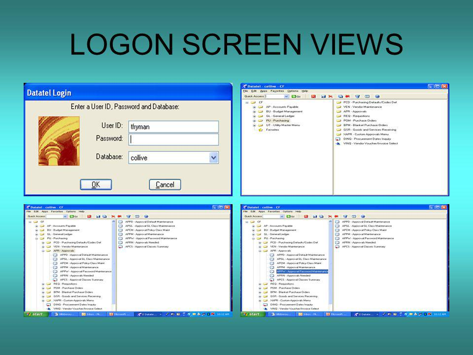 LOGON SCREEN VIEWS