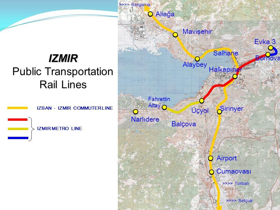 Bal ç ova Aliağa Cumaovası Evka 3 IZMIR IZMIR Public Transportation Rail Lines IZBAN - IZMIR COMMUTER LINE IZMIR METRO LINE Narlıdere Mavişehir Alaybey Fahrettin Altay Şirinyer Salhane Halkapınar Üç yol Bornova >>>> Torbalı >>>> Selçuk >>>> Bergama Airport