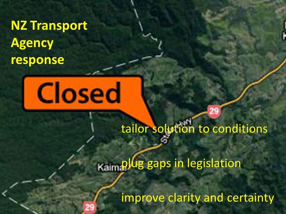 NZ Transport Agency response tailor solution to conditions plug gaps in legislation improve clarity and certainty