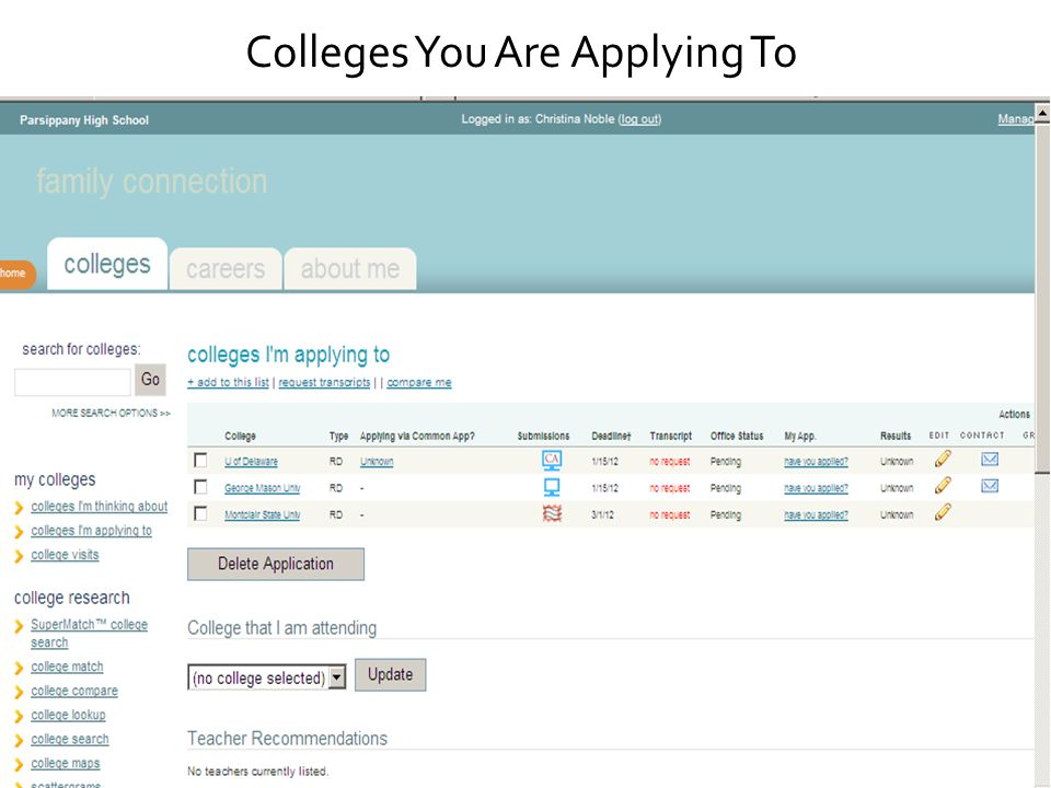 Colleges You Are Applying To