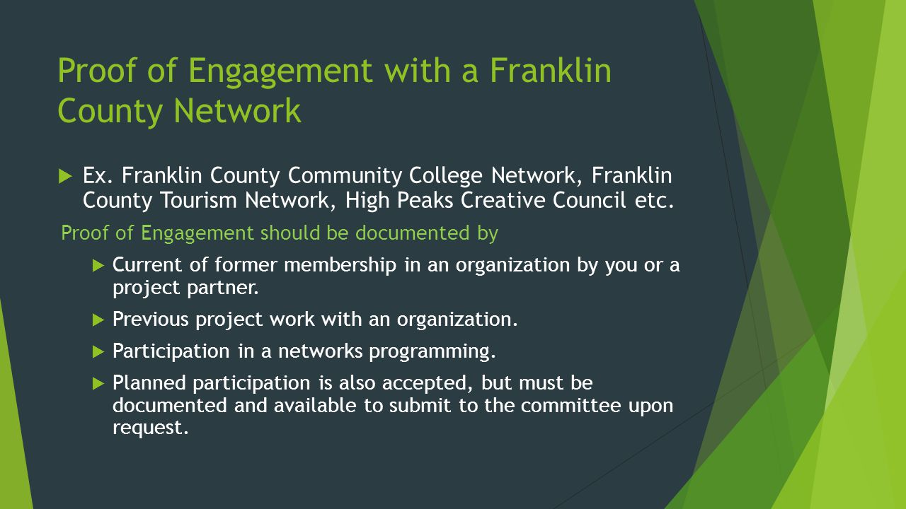 Proof of Engagement with a Franklin County Network  Ex.