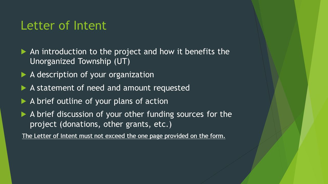 Filling out the Form The Online Form is Comprised of:  General Information  Project Summary  Project Objectives  Project Timeline  Funding and Expenses  Collaborating Organizations or Businesses  Required Documents and Information