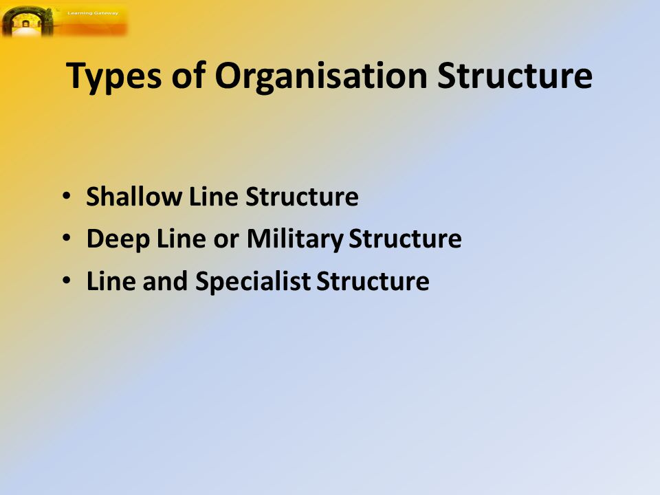 Types of Organisation Structure Shallow Line Structure Deep Line or Military Structure Line and Specialist Structure