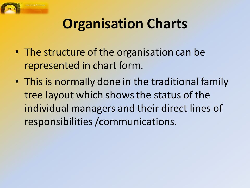 Organisation Charts The structure of the organisation can be represented in chart form.