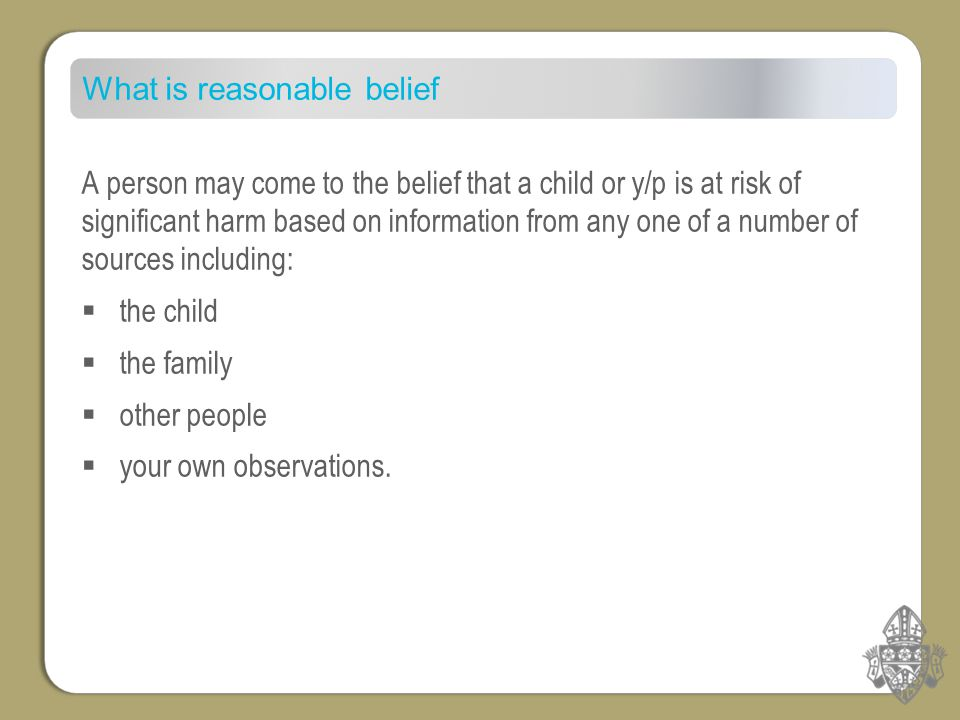 What is reasonable belief A person may come to the belief that a child or y/p is at risk of significant harm based on information from any one of a number of sources including:  the child  the family  other people  your own observations.