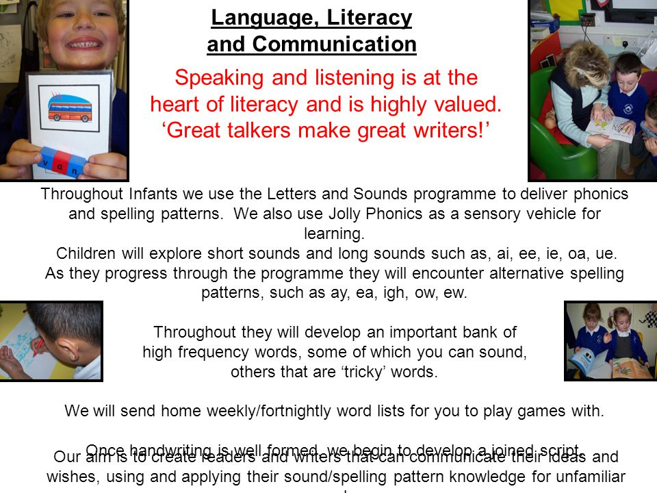 Language, Literacy and Communication Speaking and listening is at the heart of literacy and is highly valued.
