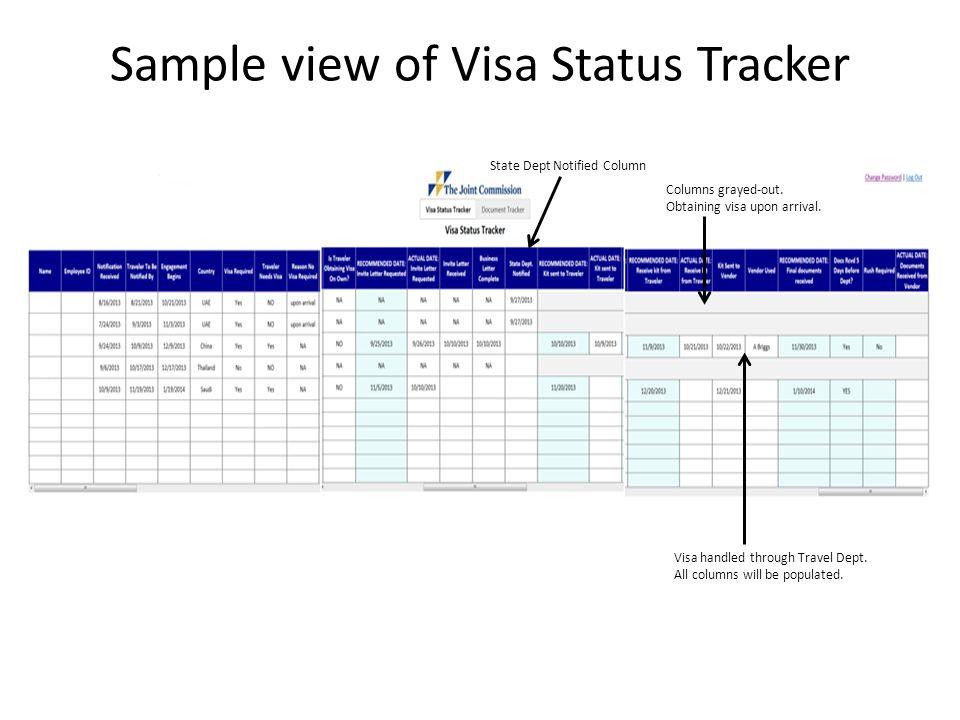 Sample view of Visa Status Tracker State Dept Notified Column Columns grayed-out.