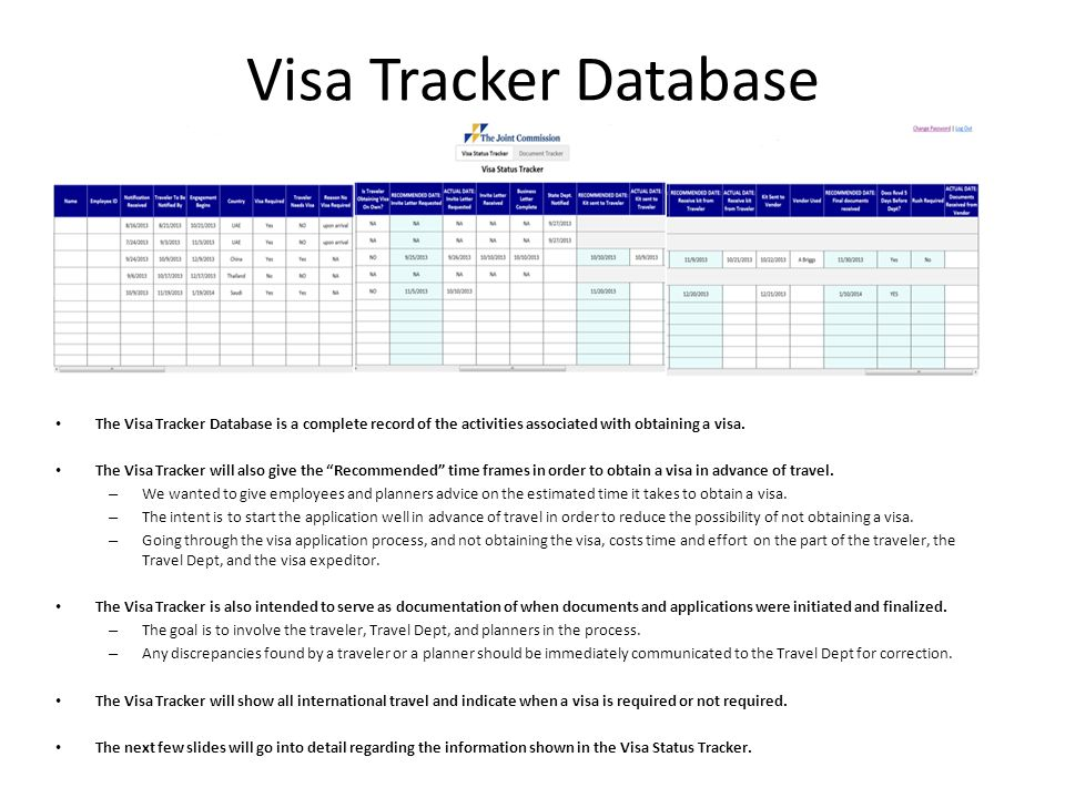 Visa Tracker Database The Visa Tracker Database is a complete record of the activities associated with obtaining a visa.