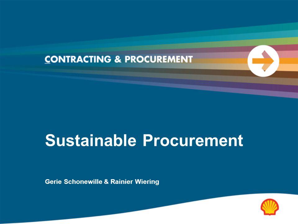 Sustainable Procurement Gerie Schonewille & Rainier Wiering