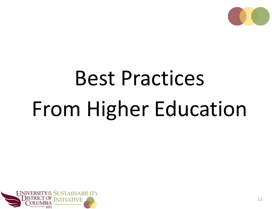 Best Practices From Higher Education 13
