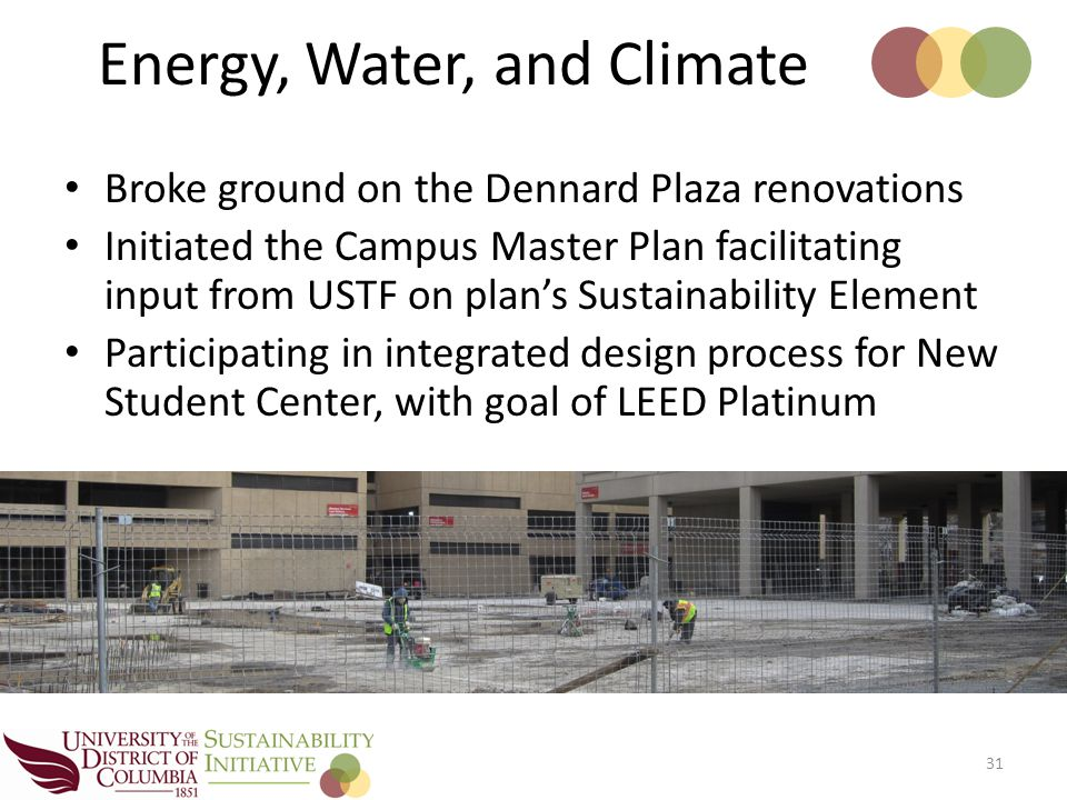 Broke ground on the Dennard Plaza renovations Initiated the Campus Master Plan facilitating input from USTF on plan's Sustainability Element Participating in integrated design process for New Student Center, with goal of LEED Platinum 31 Energy, Water, and Climate
