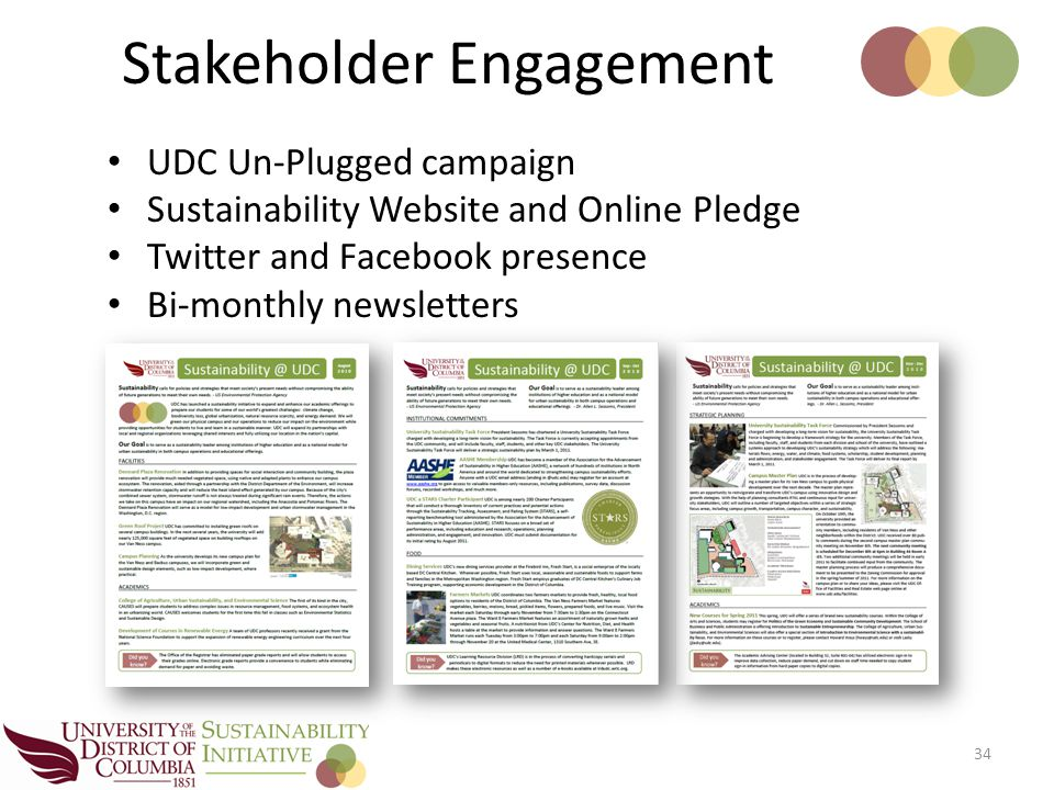 UDC Un-Plugged campaign Sustainability Website and Online Pledge Twitter and Facebook presence Bi-monthly newsletters 34 Stakeholder Engagement