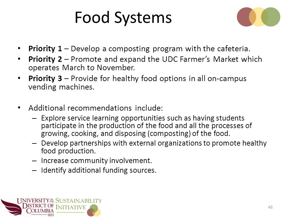 Priority 1 – Develop a composting program with the cafeteria.