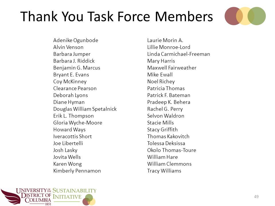 Thank You Task Force Members 49 Adenike Ogunbode Alvin Venson Barbara Jumper Barbara J.
