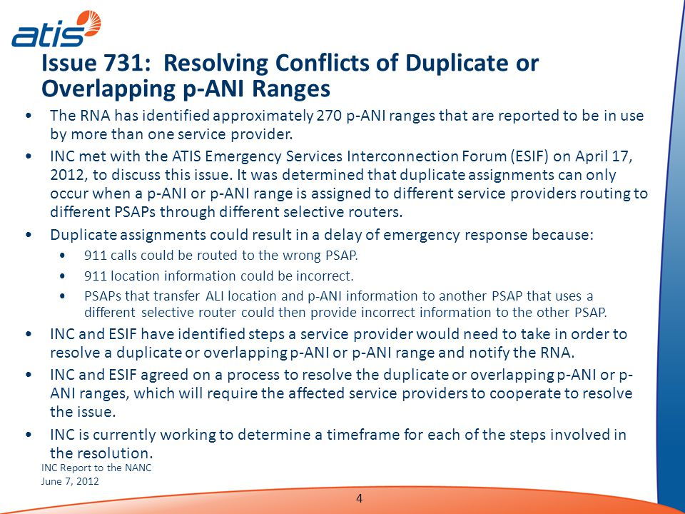 INC Report to the NANC June 7, 2012 4 Issue 731: Resolving Conflicts of Duplicate or Overlapping p-ANI Ranges The RNA has identified approximately 270 p-ANI ranges that are reported to be in use by more than one service provider.