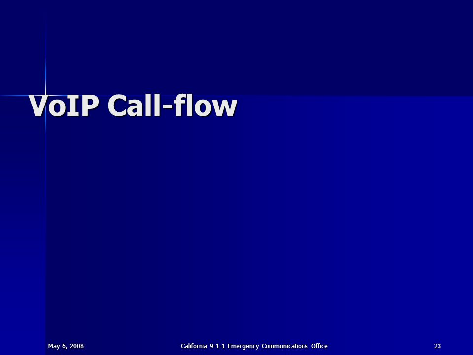 May 6, 2008California 9-1-1 Emergency Communications Office23 VoIP Call-flow