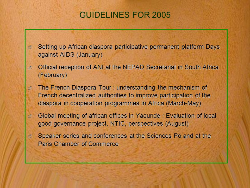 GUIDELINES FOR 2005  Setting up African diaspora participative permanent platform Days against AIDS (January)  Official reception of ANI at the NEPAD Secretariat in South Africa (February)  The French Diaspora Tour : understanding the mechanism of French decentralized authorities to improve participation of the diaspora in cooperation programmes in Africa (March-May)  Global meeting of african offices in Yaounde : Evaluation of local good governance project, NTIC, perspectives (August)  Speaker series and conferences at the Sciences Po and at the Paris Chamber of Commerce