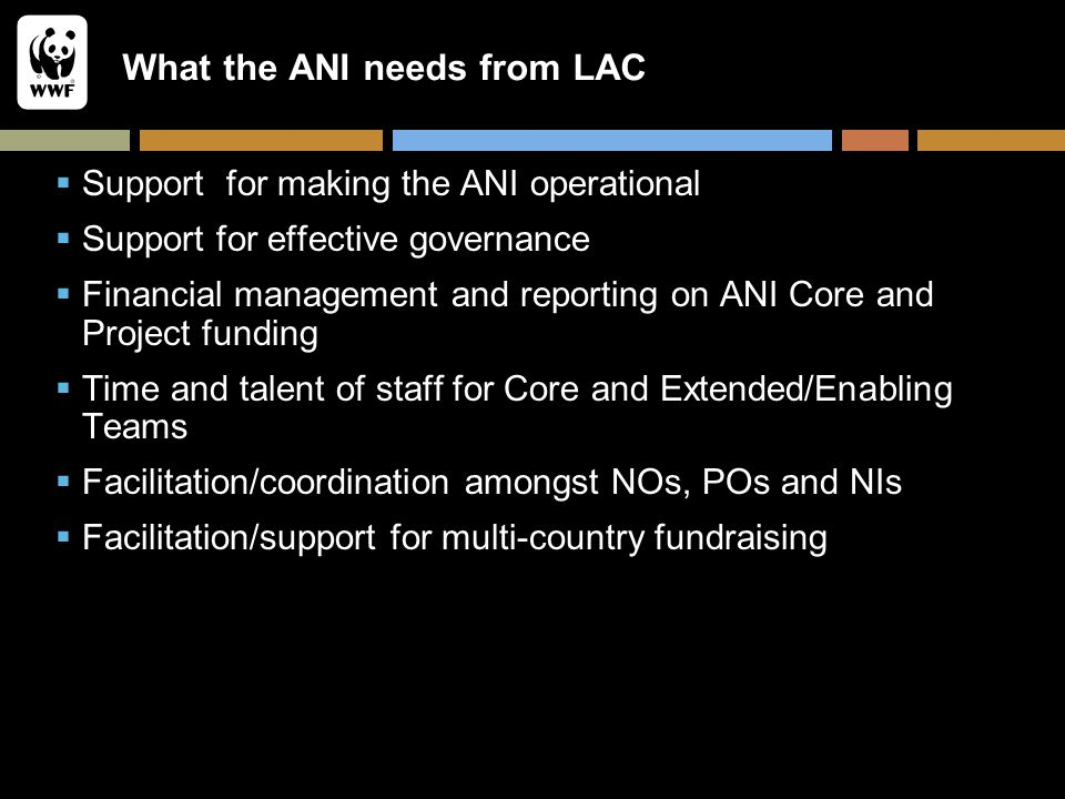 What the ANI needs from LAC  Support for making the ANI operational  Support for effective governance  Financial management and reporting on ANI Co