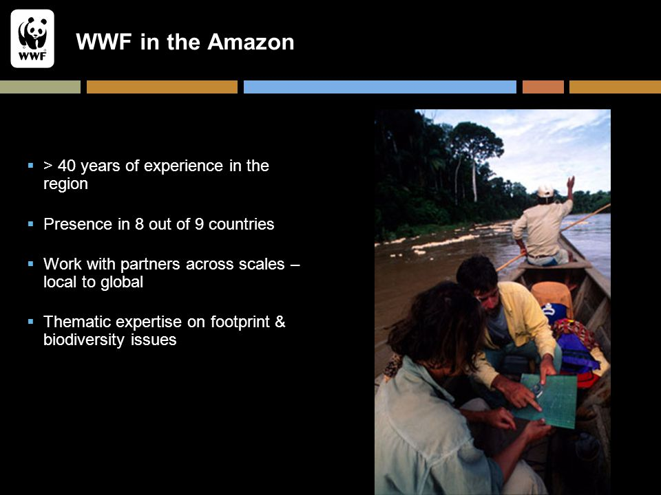 WWF in the Amazon  > 40 years of experience in the region  Presence in 8 out of 9 countries  Work with partners across scales – local to global  T