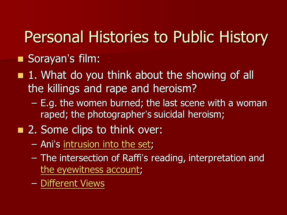 Personal Histories to Public History Personal Histories to Public History Sorayan ' s film: Sorayan ' s film: 1.