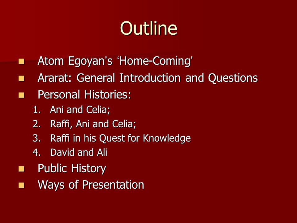 Outline Atom Egoyan ' s ' Home-Coming ' Atom Egoyan ' s ' Home-Coming ' Ararat: General Introduction and Questions Ararat: General Introduction and Qu