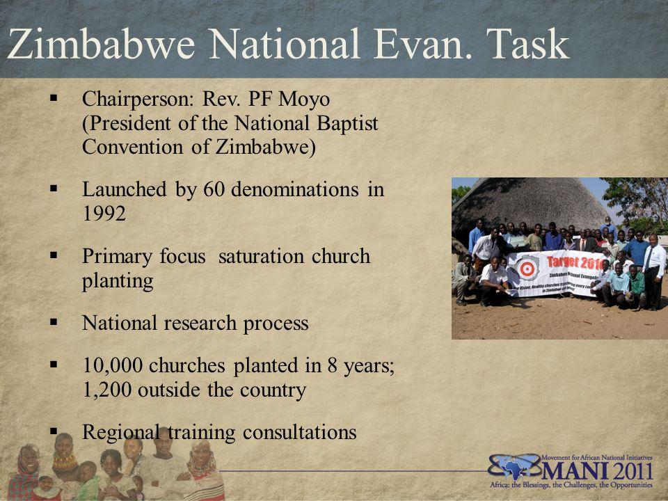 Zimbabwe National Evan. Task  Chairperson: Rev.