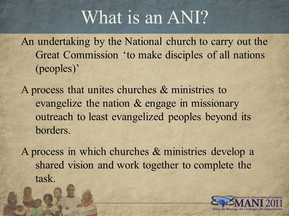 What is an ANI? An undertaking by the National church to carry out the Great Commission 'to make disciples of all nations (peoples)' A process that un