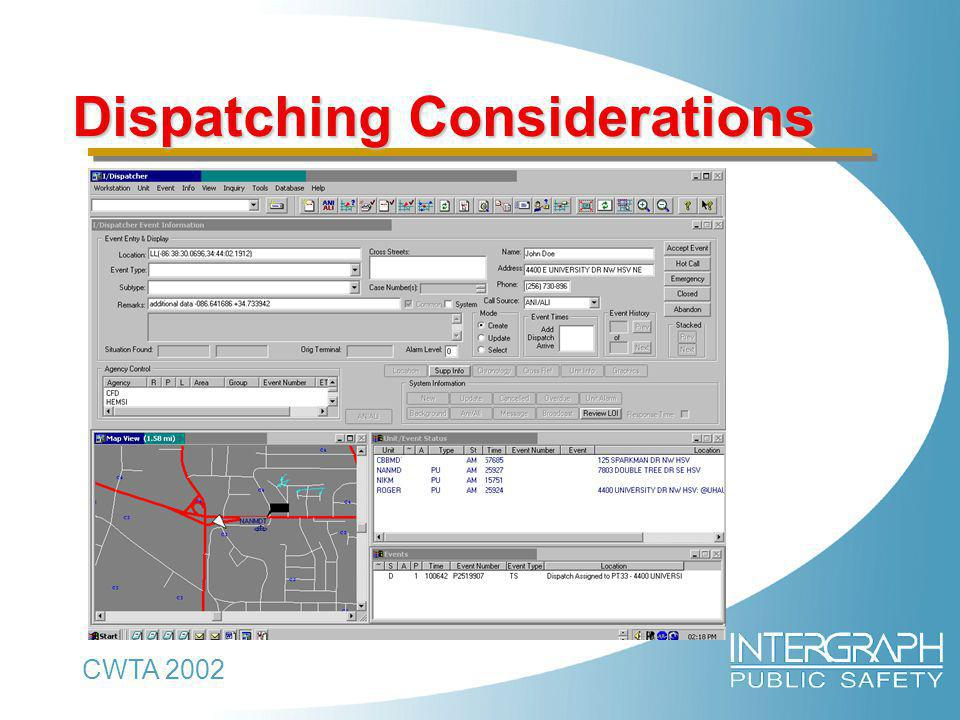 CWTA 2002 Dispatching Considerations