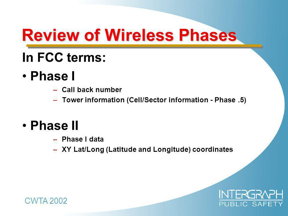 CWTA 2002 Review of Wireless Phases In FCC terms: Phase I –Call back number –Tower information (Cell/Sector information - Phase.5) Phase II –Phase I data –XY Lat/Long (Latitude and Longitude) coordinates