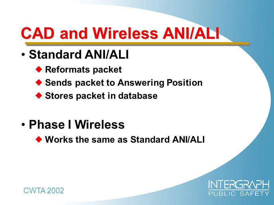 CWTA 2002 CAD and Wireless ANI/ALI Standard ANI/ALI  Reformats packet  Sends packet to Answering Position  Stores packet in database Phase I Wireless  Works the same as Standard ANI/ALI