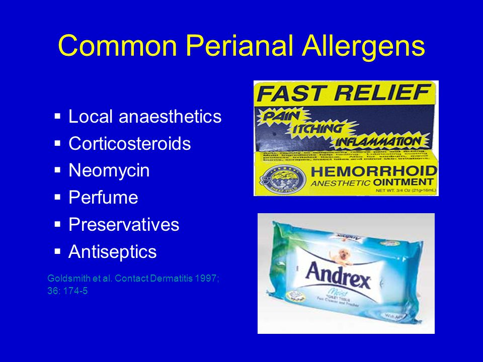 Common Perianal Allergens  Local anaesthetics  Corticosteroids  Neomycin  Perfume  Preservatives  Antiseptics Goldsmith et al.