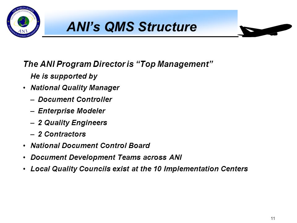 """11 ANI's QMS Structure The ANI Program Director is """"Top Management"""" He is supported by National Quality Manager –Document Controller –Enterprise Model"""